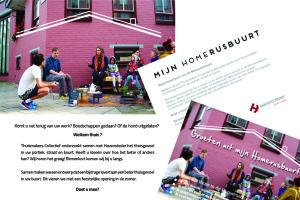Ter aankondiging van de gesprekken en enquêtes: posters op de muren en ansichtkaarten in de bus